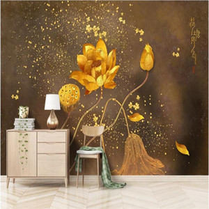 Custom Hand Painted Brushwork Lotus Golden Background 3D Mural Wallpapers for Living Room Bedroom 3D Wall Papers Home Decor