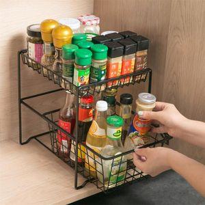 Touges Rails 2 Слои для кухни Стеллаж для хранения Шкаф Шкаф Шкаф Шкаф Специи Джарс Приправы Бутылки Держатель Полки Душевая Кадди Организатор