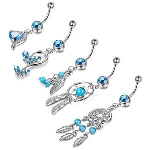 Blue Series Anello Belly Anello Gioielli Uomini Donne Fashion Zircone NAVL Nail Lega Five Piece Set nuovo modello 13 5LL J2