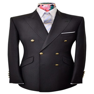 One Piece Men Suits Black Groom Suit Customized Double Breasted Fit Party Outfit Handsome Formal Cotton Coat For Best Man