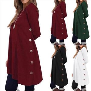 Womens Blouse Autumn Winter Clothes Casual Long Sleeve Round Neck Pullover Button Tops Shirt Sweatshirt Haut Femme G15