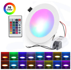LED Recessed Ceiling Lights, AC85-265V Dimmable RGB Downlights, 16 Colours Round Panel Spotlight with Remote Control for Bathroom Home Room