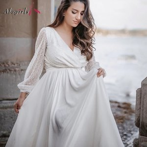 Plug Size Sexy illusion 2020 Sequin Lace Sleeve Gowns Aline Vneck Tulle Dresses Princess Wedding Dress Q1110