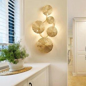 Nordic Luxury All Copper Wall Lamp Lotus Leaf Creative Living Room Aisle Background Bedroom Indoor LED Lighting Decor