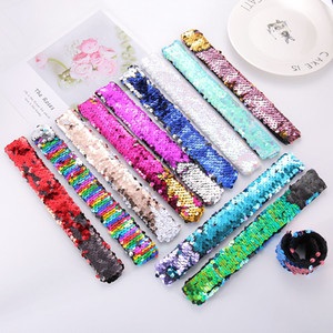Mermaid Slap Bracelets Sequins Girls Wristband Seallemined Hairband Glitter Ponytail Supporto per bambini Party Favori 11 Designs W-00462