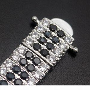 K Hermosa Gemstone Links Bracelet 925 Sterling Silver White Topaz Black Onyx Sparkle Charm Cocktail Jewelry Free Shipping 7 Inch