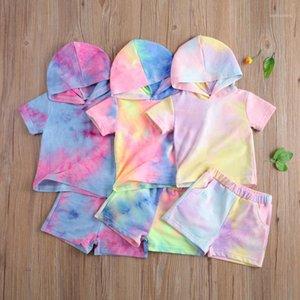 Наборы одежды 2021 0-5Y Modyler Baby Girl Boy Летняя галстука Dye Print с коротким рукавом Топ + шорты повседневные трексуиты 2шт набор набор1