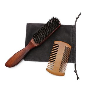 Professional Men Beard Brush Comb Kit Boar Bristle Wood Mustache Brush And Beard Comb Salon Styling Hair Comb Shaving B bbyvlP
