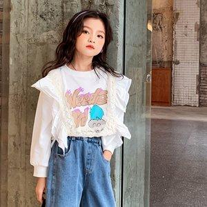 Original children's dress 2020 new girls autumn cartoon sweater children's lace long-sleeved bottoming shirt trend Z1121