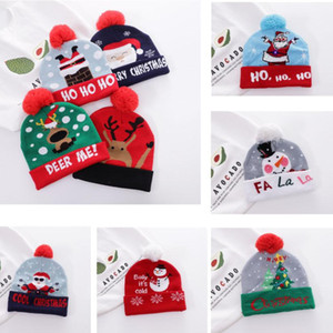 Christmas Knitted Hats Adult Women Cartoon Beanie Cap With woolen Ball Xmas Warm Hat For Santa Clause Deer Tree Snowflake Party Hat HH9-3595