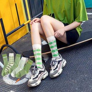 Matcha Checked Striped Socks Women Crew Socks Girl 100 Cotton Casual Thermal Harajuku Style Slipper Green Small Fresh Cozy