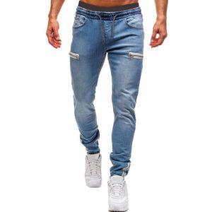 Men's Elastic Cuffed Pants Casual Drawstring Jeans Training Jogger Athletic Pants Sweatpants 2020 New Fashion Zipper