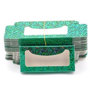 wholesale 50 100pcs false eyelash packaging paper Box lash boxes packaging custom logo faux cils eyelashes Cosmetic Glitter Green Case
