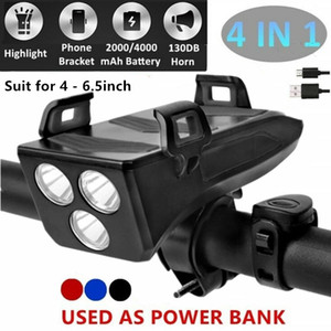 Multi-function 4 in 1 Bicycle Light USB Rechargeable T6 LED Bike Headlight Horn Phone Holder Power Bank 4000mAh MTB Front Light Q1202