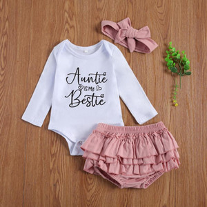 0-18Months Newborn Infant baby Girls Clothes Letter Print Long Sleeve Bodysuits Top+Ruffle Shorts+Headband 3pcs Outfits Set