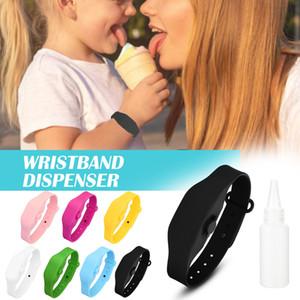 Wristband Hand Dispenser This Wearable Hand Sanitizer Dispenser Pumps Disinfecta Split silicone storage bracelet + split bottle