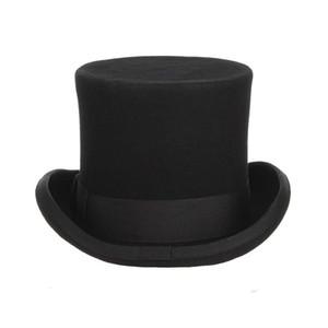 Mejor GEMVIE 13.5cm 100% Lana Fieltro Sombrero Top para Hombres Fedoras para Mujeres Mad Hatter Disfraz Cilindro Hat Cilindro Gente Derby Hat Magicle Cap