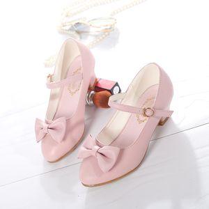 Skkek Girls Princess Dress Shoes 2019 New Bowknot Children Princess Sandals Tacones altos Baile Zapatos de niños Tamaño 28 ~ 37 Rosa blanco W0108