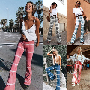 Tie Dye Striped Printed Flare Pants Multi Art-lose hohe Taillen-Hosen Damen-Hosen 2020