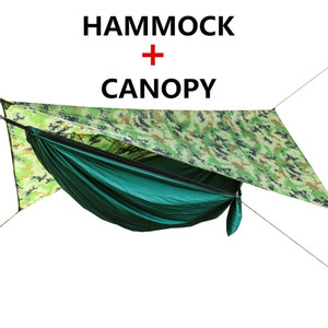Portable Camping Hammock With Mosquito Net And Rain Fly Tarp Set Canopy Tent Outdoor Camping Mosquito Free Swing Bed Waterproof Q0111