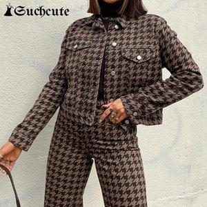 Suchekute Kore Tarzı Modu Longslive Rahat 2021 Sonbahar Ceket Harajuku Streetwear Moda Houndstooth 90s Kıyafetler Ceket Gotik