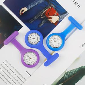 Nueva Redonda Redonda Reloj Médico Doctor Broche Tipo Clip Enfermera Jelly FOB Pocket Quartz Watch Silicone Docotor Pocket Medical Clock