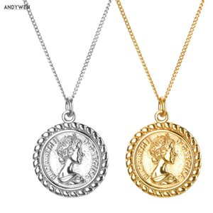 ANDYWEN 925 Sterling Silve 19mm Women Image Coin Pendant Long Chain Necklace Gold Double Side Horse 2 Types Rock Punk Jewelry Z1126