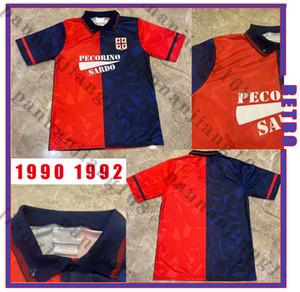 Cagliari Calcio 1990 1992 Retro Soccer Jerseys Home JOAO PEDRO SIMEONE NAINGGOLAN GODIN 90 92 Vintage football shirts