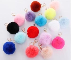 8cm Imitate Rabbit Fur Ball Keychain Pom Pom Car Handbag Keychains Decoration Fluffy Faux Rabbit Fur Key Ring Bag Accessories