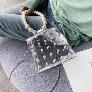 Fashion Girl Pearl Crossbody Bags Women Cute Waterproof Messenger Package Lady Beaded Shoulder Flap Transparent Women Bag