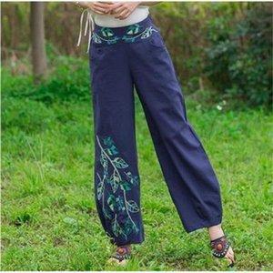 Женские Винтажные вышивки Свободные брюки Повседневная длинные брюки Летние бриджи Дамы мода брюки одежда Pantalon Femme E573