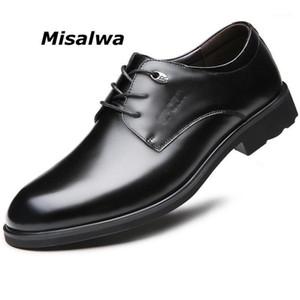 Misalwa homens tradicionais derby sapatos couro oficial Básico homens de negócios vestido sapatos black1