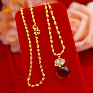 Exquisite Gold 14K Necklace for Women Wedding Engagement Jewelry Lucky Bag Rubby Stone Pendant with Chain Party Birthday Gifts Z1126