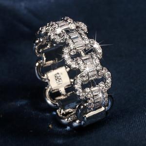 Deluxe amantes laboratório diamante anel 925 esterlina prata bijou noivado casamento anéis de banda para mulheres homens cadeia festa jóias presente y1128