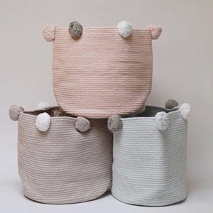 Woven Basket Dirty Clothes Nordic Storage Bag Baby Laundry Basket Toy Storage Bags Fabric Cotton Pom Pom Rope
