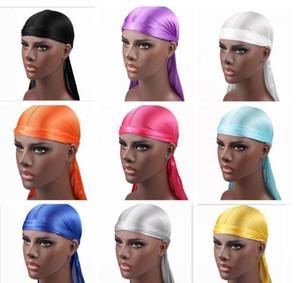 Men's Satin Long tail braid Durags Bandana Turban Wigs Men Silky Durag Headwear Headband Pirate Hat Hair Accessories GD999