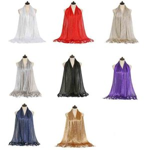 Women Glitter Metallic Wedding Shawl Wraps Fringe Tassels Evening Party Dresses Scarf Cover Ups with Buckle Ring