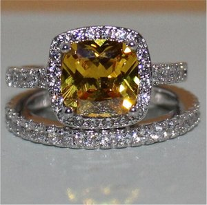Fashion 3ct Princess-cut yellow Topaz gemstone Rings set 2-in-1 Diamond Jewelry 925 Sterling Silver Engagement Wedding Band Ring For Women