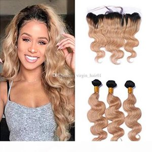 Honey Blonde Ombre Lace Frontal Closure With Body Wave Hair Weeaves 3 Bundles 1B 27 Strawberry Blonde Ombre Virgin Hair With 13*4 Frontal
