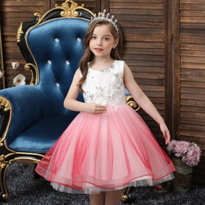 Children's baby birthday princess fluffy gauze flower girl wedding dress girl small host evening dress new style