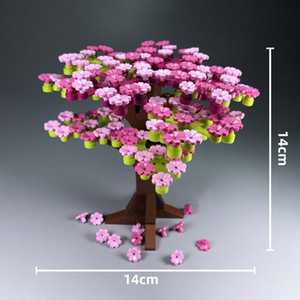 237Pcs Cherry Blossom Tree Sakura Plants Flowers Building Blocks Set DIY City Street MOC Accessories Model Bricks Kids Toys LJ200930