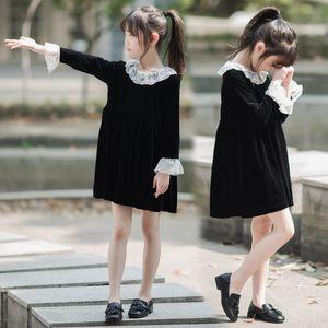 New Kids Dresses for Girls 2020 Autumn and Winter Children Lace Dress Baby Princess Dress Girl Korean Velvet Party Clothes,#5422 F1202