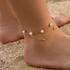 Bohemia 2pcs set Anklets for Women Foot Accessories 2020 Summer Beach Barefoot Sandals Bracelet Ankle on The Leg Female1