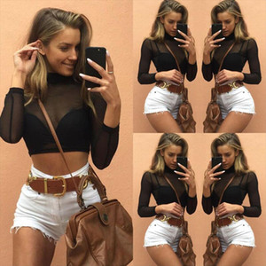 Women Sexy Mesh See through T Shirt Sheer Crop Top High Turtleneck Slim Long Sleeve Clubwear Party Fashion Tops Clothes