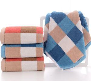 Serviette en coton pur épaissie absorbant des serviettes de serviettes souples cadeaux Plaid Stripe motif serviette de visage 4 couleurs 75 * 35cm