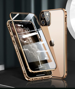Square Edge Metal Bumper Double Sided Glass Case For Iphone 12 Mini Pro Max X Xr Xs Max Luxury Magnetic Full H sqcWji