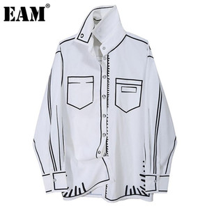[EAM] Women White Pattern Printed Big Size Blouse New Lapel Long Sleeve Loose Fit Shirt Fashion Tide Spring Autumn 2021 1DD0074