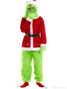 Venta al por mayor Unisex Unisex Santa Claus Navidad The Grinch Red and Green Party Performance Traje Cosplay Disfraz Para Navidad Con Guantes
