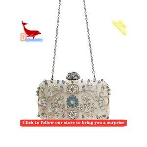 Testa di fiori intarsiata con diamante glitter borsa cosmetica 2021 ladies tappo della cena catena di poliestere a forma di cuore pesca a forma di cuore frizione HT8023