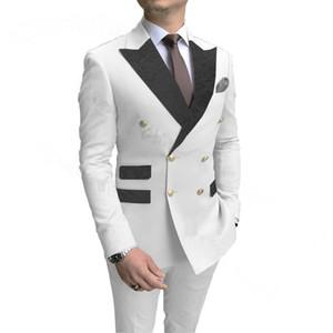 2021 Moda Flor Preta Lapela Branco Homens Casamento Prom Vestido Ternos Duplos Homens Breasted Suits Do Noivo Partido Tuxedo 2 Peças Definir